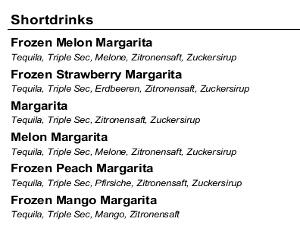 Getränkekarte: Typ Liste