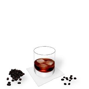 Black Russian im Whisky Glas, die übliche Art diesen Winter-Cocktail zu präsentieren.