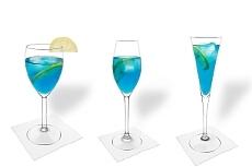 Verschiedene Blue Champagne Dekorationen