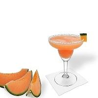 Melon Margarita im Margaritaglas mit Melonen-Dekoration und Zucker- oder Salzrand.