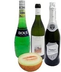 Melonenbowle Zutaten: Mit Melonen-Likör (Standard)