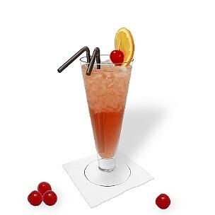 Singapore Sling ist ein harmonischer Fizz aus Gin und Cherry Brandy.